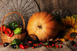 Excellent autumn still life with pumpkin on sacking