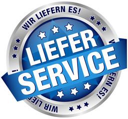 """Button Banner """"Lieferservice"""" blau/silber"""