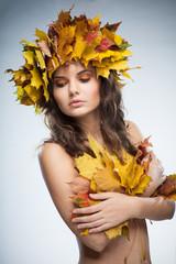 Cute woman Autumn portrait