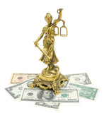 statue of justice and money isolated on white background
