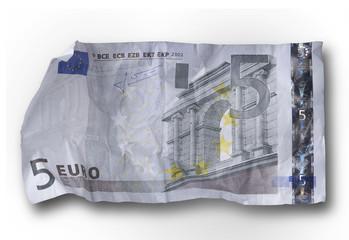Banconota da 5 euro rovinata
