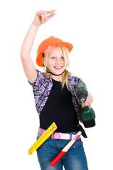 Mädchen als Handwerkerein