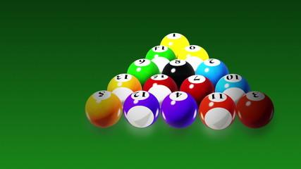 Billiards, Rotation on green background, seamless loop