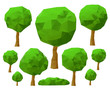 Set of trees 3d imitation . Vector illustration.