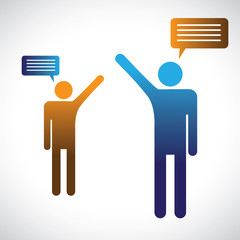 Concept graphic of people talking, speaking or chatting. The ill
