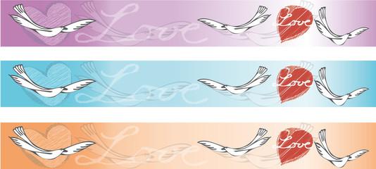 Banner - retro - Liebe - Herz - Taube