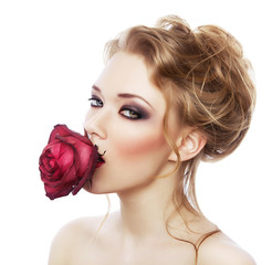 attractive girl with red rose