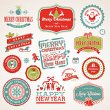 Fototapety Set of labels and elements for Christmas and New Year