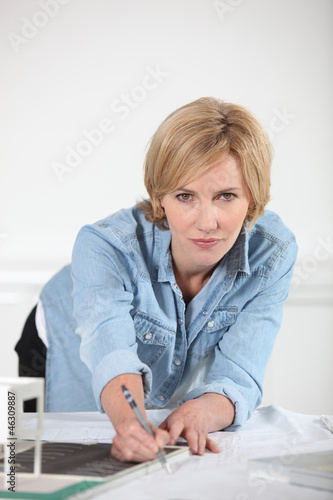 Woman with denim shirt