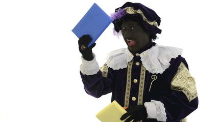 Zwarte Piet is juggling with presents