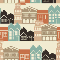 Vector seamless pattern with houses and buildings