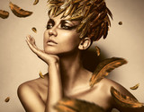 Fototapety sexy woman in feather gold hat