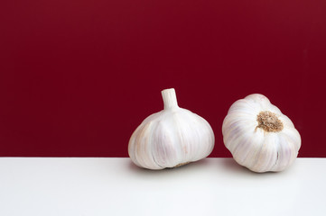 Two bulbs of garlic on a white and red background