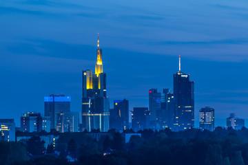 Frankfurt skyline at dusk taken from Lohrberg hill. Germany