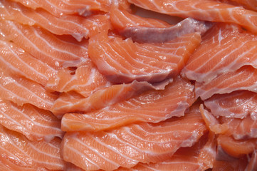 Close-up of salmon slices for sashimi