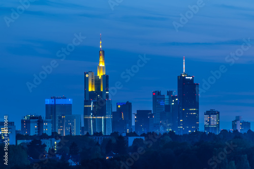 Frankfurt skyline at dusk taken from Lohrberg hill. Germany