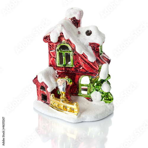 Christmas decoration. House of Santa Claus on a white background
