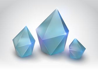 Quartz crystal (Vector illustration of a realistic gemstone)