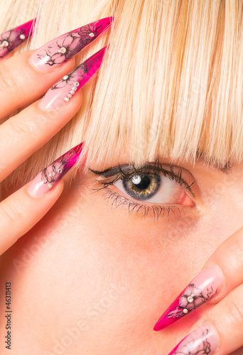 Young beautiful blonde with a nice manicure