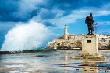 Hurricane in Havana with  waves crashing at El Morro