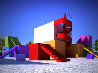 Colorful modern built structure