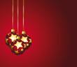 Boules rouges et or sur fond de fêtes.