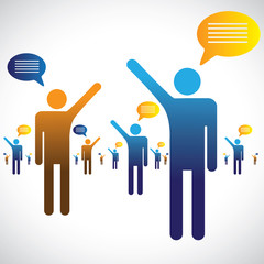 Many people talking, speaking or chatting graphic. The illustrat