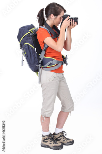 Backpacker with a camera