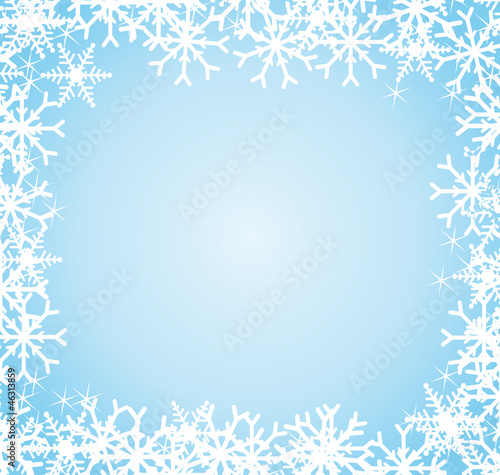 Ice blue snowflakes frame. Festive background.