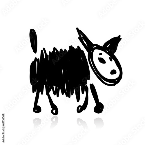 Funny black dog for your design