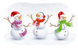 Fototapety Funny Snowmen. Vector illustration