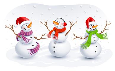 Funny Snowmen. Vector illustration