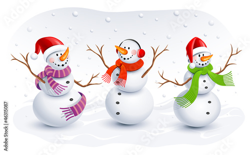 Funny Snowmen. Vector illustration