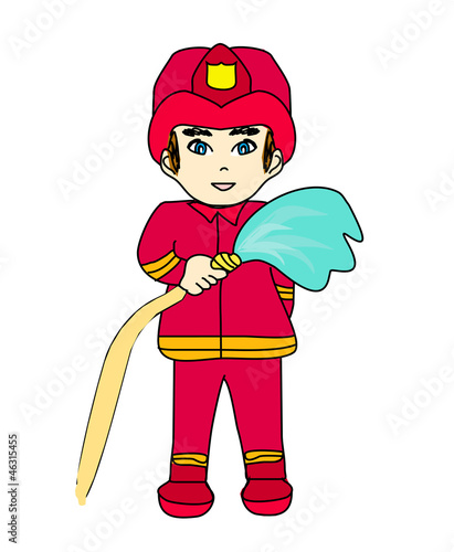 Sketchy illustration of a fireman