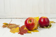 red apples and autumn leaves - empty space for text