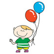 happy boy smile with balloons cartoon hand drawn