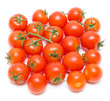 cherry tomatoes on a white background. Top view.