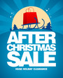 After christmas sale design template with shopping bag on a sled
