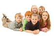Group of happy kids laying on floor together