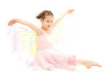 Girl child dressed in butterfly ballerina costume