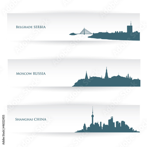 Banners with city skylines - vector illustration