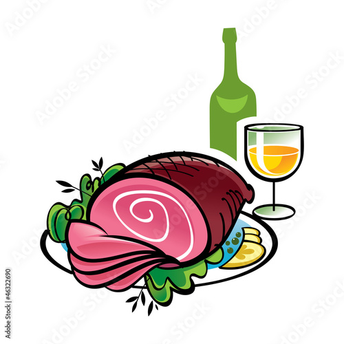Ham and bottle and glass of Wine