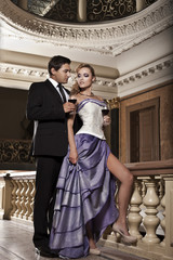 Beauty romantic young couple in love in misterious mansion