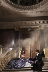 Romantic young couple in love in misterious residence