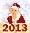 New 2013 Year card with Santa girl