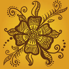 Mehandi (henna) tattoo flower