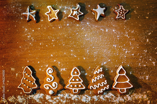Homemade Christmas cookies with decoration