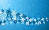 Christmas blue snowflakes background