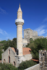 Old mosque in the Castle of St Peter, Bodrum, Mugla, Turkey