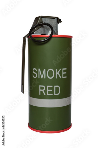 Red smoke grenade m18 on white background